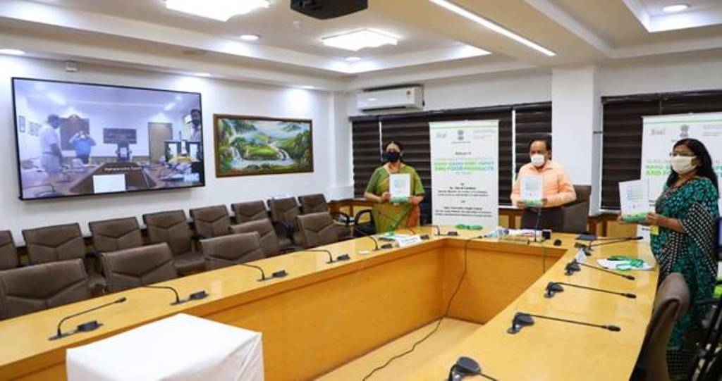 minister Harsh Vardhan releasing guidelines through video conferencing