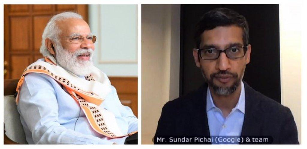 Prime Minister Narendra Modi and Google CEO  Sundar Pichai