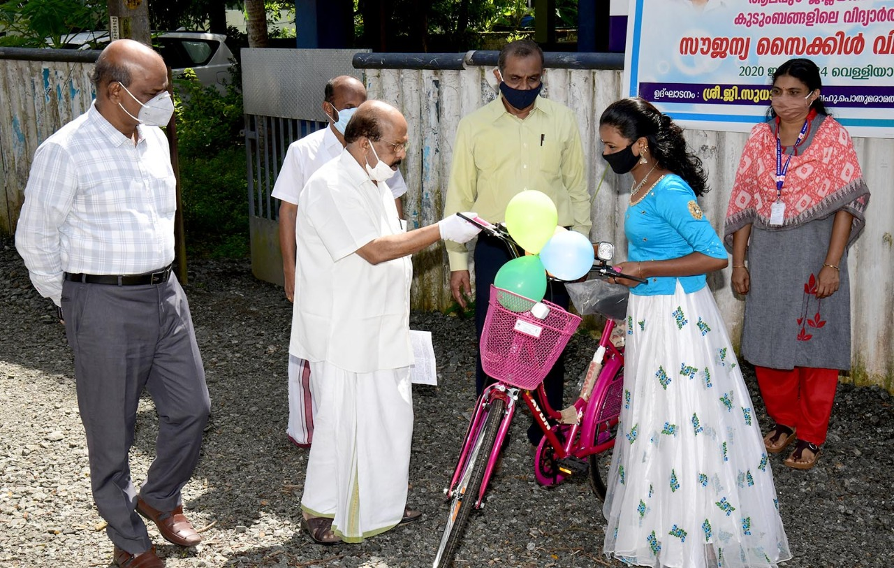 Distribution of bicycles inaguration by minister G Sudhakaran